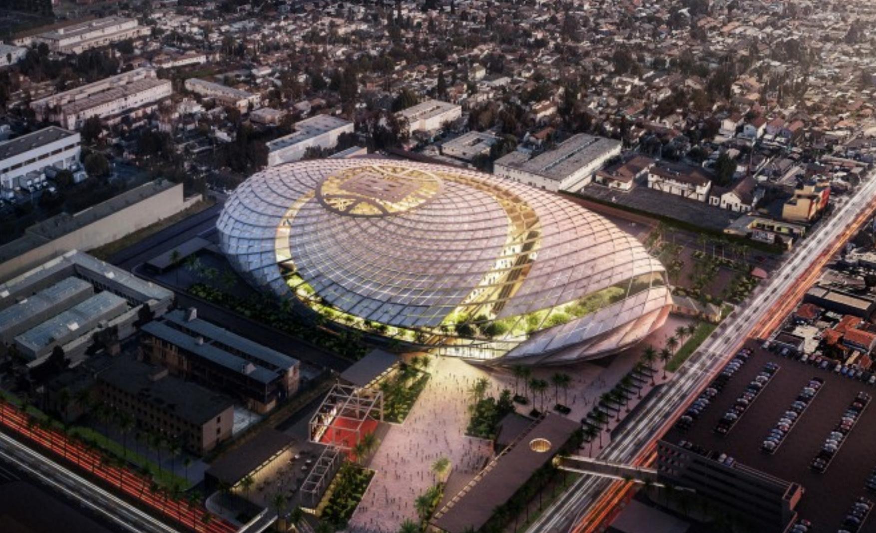 Basketball Stadium Overhead Shot with City Around It