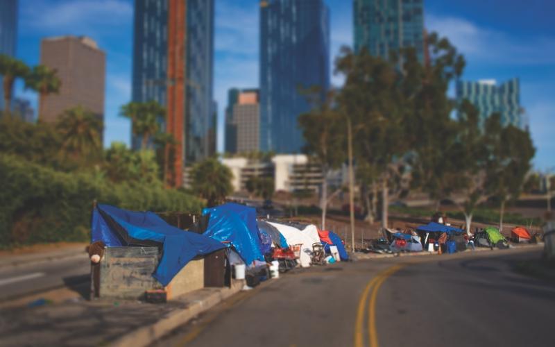Homeless Camp on Freeway OnRamp in California